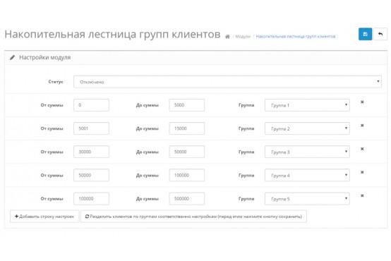 Модуль Лестница групп клиентов по накопительной сумме на Opencart 2
