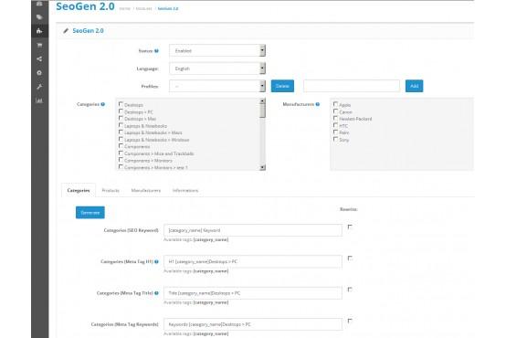 Модуль автоматическая генерация SEO URL для OpenCart 2