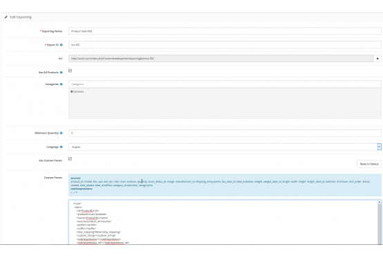 Модуль экспорта товаров в XML Opencart 2.3