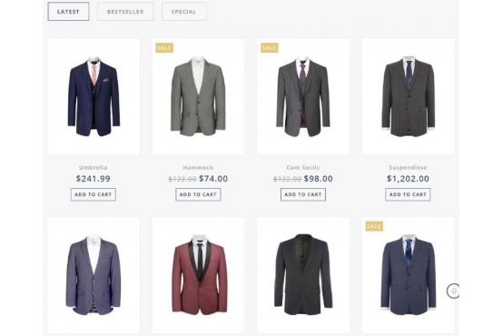 Шаблон Мужская одежда Opencart